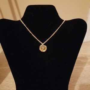 Gold Necklace with Initial P Charm